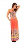 FB Ena Orange & Magenta Maxi Dress