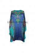 EC Women's Blue Turquoise Paisley Print Longline Kimono Tunic