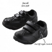 1KH BOYS JACOB LEATHER SCHOOL SHOES WITH LIGHTS