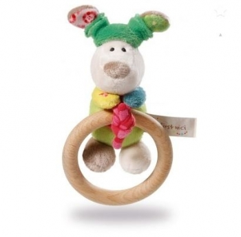NICI Dog Fino Wooden Rattle Ring with Bell